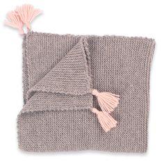 Les tricots de mamy - Couverture bébé en alpaga griset rose - Mamy Factory