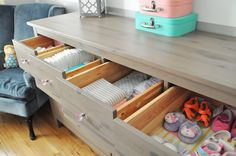 Fun, lined nursery drawers will motivate you to stay organized in the nursery!