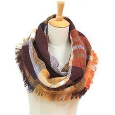 Warm Mens Chenille Scarf Winter Warm Soft Fringe Tassel Long Scarf Orange