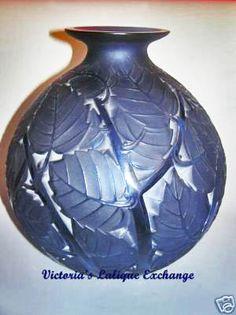R. Lalique Blue Milan Vase, c.1929