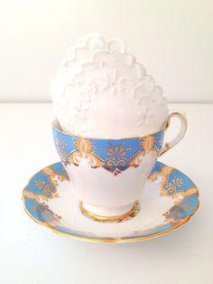 Vintage English Paragon Bone China Teacup and Saucer Tableware Vintage Beach Inspired Wedding - c. 1957 - 1960s