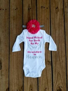 Hospital Coming Home Outfit Guardian Angel Wings Hand Picked For Earth by My Uncle In Heaven Pink and Silver Glitter Newborn Honor Set
