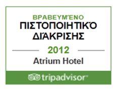 Atrium Hotel, Trip Advisor, Awards