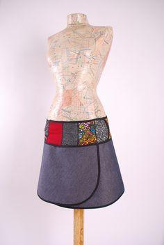 """Faldas - Minifalda pareo """"Selene""""(jean con bies negro) - hecho a mano por moondevalES en DaWanda"""