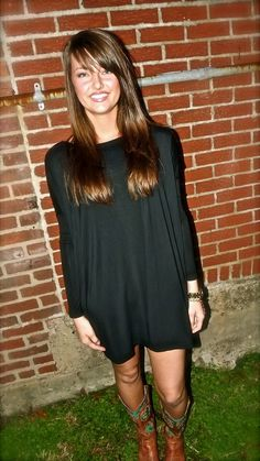 Black Piko Tunic/Dress | The Rage .. makes me want to buy cowgirl boots
