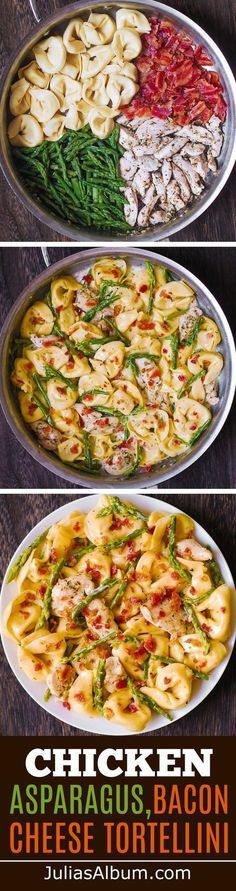 Creamy Tortellini with Asparagus, Chicken, Bacon