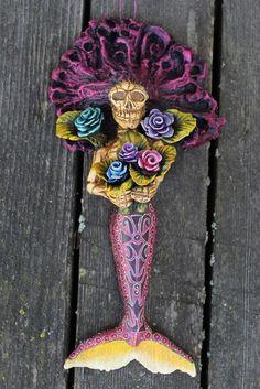 Mermaid Skeleton Dias de los Muertos Mexican Folk Art Oaxaca Jose Juan Aguilar