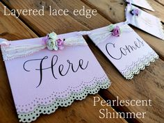 CUSTOM  Here Comes the Bride  Pearlescent Banner   by JDPaperie, $18.00