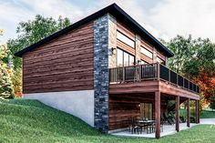 Small Modern Cabin, Contemporary Cabin, Modern Lake House, Modern Mountain Home, Modern Cabins, Mountain Homes, Lake House Plans, Cabin Plans, Small House Plans