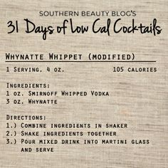 31 Days of Low Cal Cocktails: Whynatte Whippet(modified)