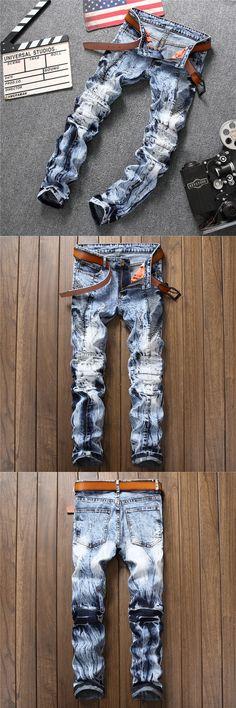 2017 New Biker Men's Zipper Jeans Men Slim Fit Straight Moto Punk Dark Long Designer Nightclubs Mens Jeans Pleated Blue Pants