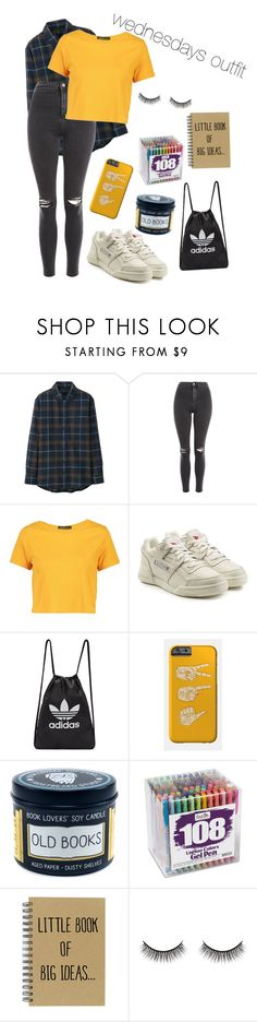 """""""my outfit for wednesday"""" by shesliterallyglowing on Polyvore featuring Uniqlo, Topshop, Boohoo, Reebok, adidas Originals, Battington, cute, LazyDay, comfy and easy"""