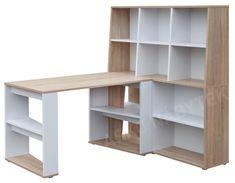 Psací stůl s regálem Phil, dub sonoma/bílá Pallets, Storage Ideas, Wooden Toys, Shelving, Bookcase, Furniture, Design, Home Decor, Wooden Toy Plans