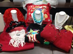 #Recycled jewelry and #upcycled sweaters made a great table display for our appearance on Great Day Houston @KHOU 11 News  with #DeborahDuncan!