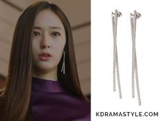 "Krystal's Silver Earrings - Folli Follie Fashionably Silver Earrings Krystal 크리스탈 as Moo Ra 무라 in ""Bride of the Water God Episode Kpop Earrings, Dangly Earrings, Simple Earrings, Fashion Earrings, Silver Earrings, Bride Of The Water God, Korean Accessories, Classy Work Outfits, Krystal Jung"
