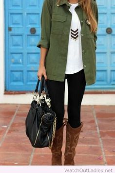 Black pants. white top and olive shirt