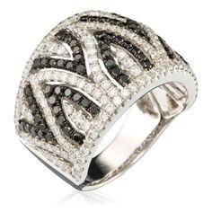 White Gold Ring with White Diamonds (1.18 ct) & Black Diamonds (0.72 ct) (DIAMANTA2 1058978)