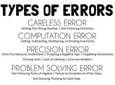 Types of Errors poster to hep students better understand and analyse their mistakes. Math = Love: Analyzing Errors - Free Poster