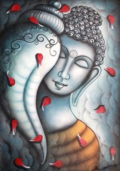 Oil Paintings: Indian Oil Paintings & Oil On Canvas Buddha Painting, Buddha Art, Coffee Painting, Stone Painting, Art Drawings Sketches Simple, Pencil Art Drawings, Ganesha Drawing, Buddha Sculpture, Krishna Art