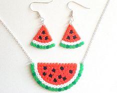 Cute Watermelon SET Fruity sweet earrings necklace   8 bit pixel art jewelry   Hama beads Perler Beads   Funky jewelry pixel necklace
