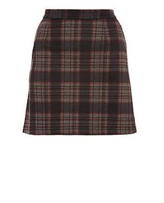 Black Check A Line Skirt | New Look
