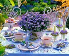 Lilac afternoon tea table is oh so pretty. Outdoor Tea Parties, Garden Parties, Party Garden, Outdoor Events, Dresser La Table, Afternoon Tea Parties, Afternoon Delight, My Tea, High Tea
