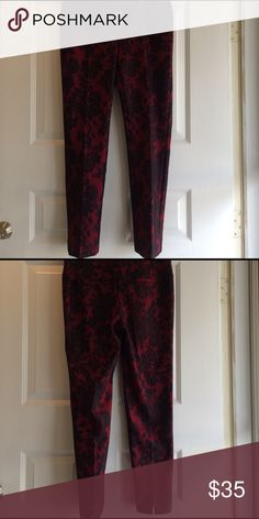 NWT WHBM Red/Blk Lace Floral Ankle Pants Brand new. Beautiful deep, dark red with black Floral Lace pattern. Fit is slim Ankle. White House Black Market Pants Ankle & Cropped