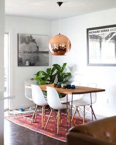 dining room lamp + rug