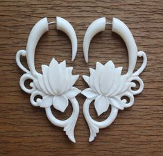 Fake Gauges MALEE Hand Carved Tribal Earrings by SanskritDream,