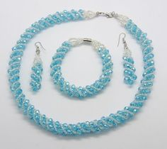 Glass Crystal Jewelry Set, with Seed Beads, Necklace, Bracelet and Earring