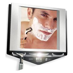 Zadro Zu0027Fogless Fog Free LED Lighted Shower Mirror With LCD Clock    Stainless