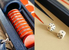 Tangerine and Navy. Bespoke leather luxury by Geoffrey Parker. MONC XIII http://monc13.com/