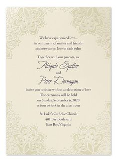 'Lace Shimmers' ecru wedding invitation with embossed floral-lace design by Carlson Craft at Invitation Consultants Invitation Envelopes, Wedding Invitations, Four O Clock, Bathroom Design Luxury, Reception Card, Response Cards, Lace Design, Floral Lace, Elegant Wedding