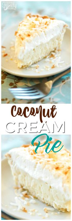 Coconut Cream Pie is a dreamy island dessert with a flaky crust, coconut filling that is made from scratch, and toasted coconut sprinkles. via /favfamilyrecipz/ Just Desserts, Delicious Desserts, Yummy Food, Sweet Desserts, Yummy Yummy, Toasted Coconut, Coconut Cream, Coconut Flour, Tart Recipes