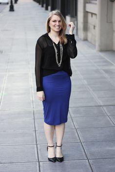 blue midi skirt to wear to the office #style #fashion #midiskirt