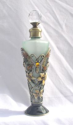 Passiflora Tall Green & Amber Perfume Bottle with Jeweled Butterfly[1st of two pins]