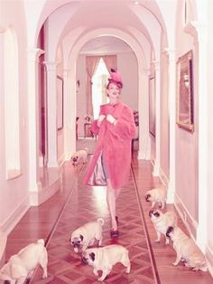 puppies and pink! pugs have never looked so glamorous. Linda Evangelista by Steven Meisel PUGS Linda Evangelista, Steven Meisel, Terry Richardson, Ellen Von Unwerth, Natalie Clifford Barney, Floral Lampshade, Fabric Lampshade, Photo Animaliere, Fu Dog