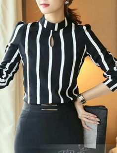 Cheap blouse shirt, Buy Quality blouse xxxl directly from China blouse bodysuits Suppliers: New Style Fashion suit Hollow Out Long Sleeve Striped Bodysuit Chiffon Blouse 2016 Plus Size Women Office Shirts And Tops Suit Fashion, Work Fashion, Fashion Outfits, Classy Outfits, Casual Outfits, Chiffon Blouses, Indian Designer Wear, Work Attire, Blouse Designs