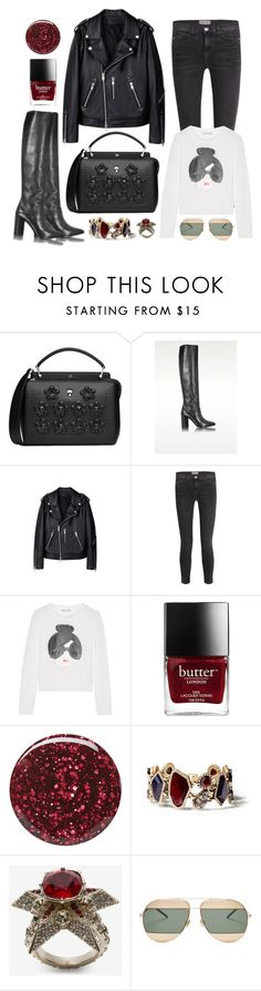 """""""Dotcom"""" by cherieaustin ❤ liked on Polyvore featuring Fendi, Current/Elliott, Alice + Olivia, Burberry, Chloe + Isabel, Alexander McQueen and Christian Dior"""