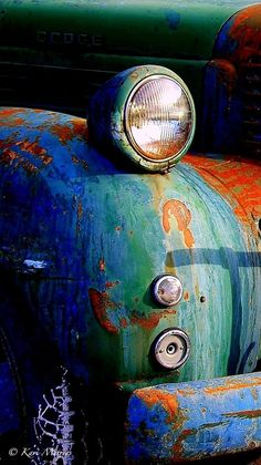 ♂ Aged with beauty old rustic car colorful details