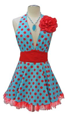 Aqua & Red Retro Diner aprons will be made for our hostesses at the Three Dolls Diner.