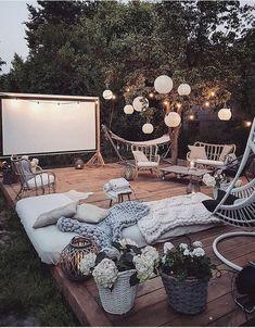 Bohemian Garden Backyard and Patio Ideas Outdoor Spaces, Outdoor Living, Outdoor Decor, Party Outdoor, Backyard Patio, Backyard Camping, Outdoor Camping, Screened Patio, Cozy Patio