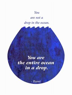 You are not a drop in the ocean. You are the entire ocean in a drop. Picture Quotes.