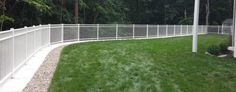 White three rail ornamental aluminum fence on cement retaining wall Wooden Fence Gate, Brick Fence, Concrete Fence, Front Yard Fence, Farm Fence, Fence Stain, Stone Fence, Pallet Fence, Metal Fence