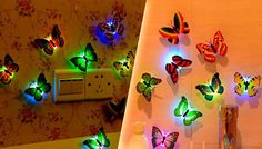 5-Piece Butterfly Light Set Add a nature inspired illumination with the 5-Piece Butterfly Light Set      Generates an enchanting soft light      Great for bathrooms, bedrooms or using a night lights      Approximately 7.5cm in size      Includes 5 butterfly shaped lanterns      Sticky sides easy to fix onto walls, furniture or mirrors      Flick switch underneath turn on whenever you...