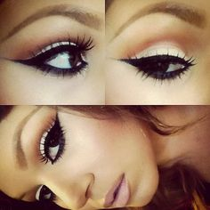 white, coral smokey eye with dramatic black cats eye winged. Pretty Makeup, Love Makeup, Makeup Inspo, Makeup Inspiration, Makeup Tips, Beauty Makeup, Makeup Looks, Hair Beauty, Gorgeous Makeup