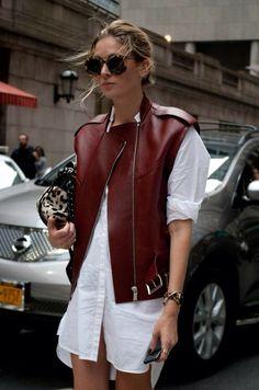 Long white button down + leather vest