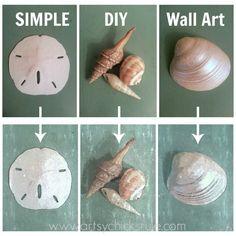 SIMPLE & Thrifty Coastal Art from photos (these are cell phone photos!) of shells - artsychicksrule.com #shells #coastal #wallart #diy
