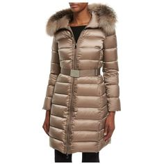Moncler Tinuviel Shiny Quilted Puffer Coat W/Fur Hood (123.680 RUB) ❤ liked on Polyvore featuring outerwear, coats, neutral, parkas, parka coat, quilted coat, brown coat, cinch coat and moncler coat