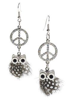 Peace Owl Earrings
